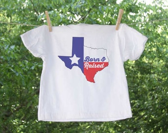 Texas Born and Raised Texa Flag and State Outline T Shirt - GC