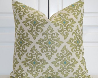 Decorative Pillow Cover - Medallion - Olive/Chartreuse and Turquoise - Blue - Accent Pillow - Cushion Cover