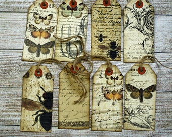 Vintage Style Tags Entomology Ephemera Butterfly Gift Journaling Hangtags Aged Distressed Set of 8