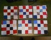 29 Qty - Sixteen Patch Squares -  Red, White and Blue