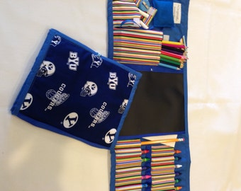 BYU Art Tote complete with chalkboard, chalk, eraser, paper pad, pencil, crayons, and colored pencils