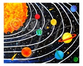 Solar System Wall Art Print for Children, 20x16 Giclee, Colorful Space Themed Art for Kids Room