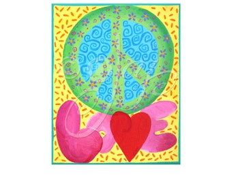 Childrens Wall Art Print, Peace Love, 8x10, Peace Signs Art for Girls Room, Tween Girl Decor