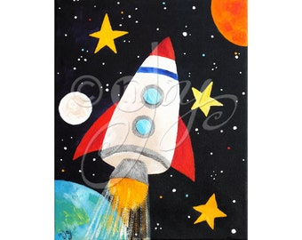 Childrens Wall Art PRINT, ROCKET No.2, 16x20 Space themed wall art for kids rooms