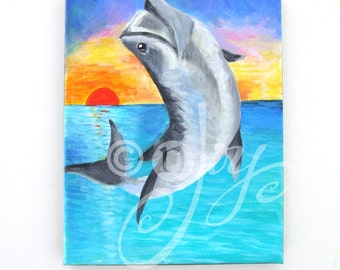 Fish Painting, JUMPING TARPON, 8x10 Tropical Fish Art, Beach decor