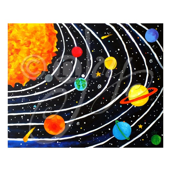 Solar System Wall Art Print for Children 20x16 Giclee