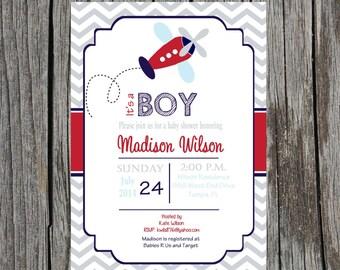 Printed Airplane Baby Shower Invitation, planes, airplane baby boy shower