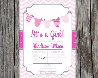 Printed Its a girl invitation, baby girl clothesline invitation, baby girl invitation, its a girl baby shower, printed set
