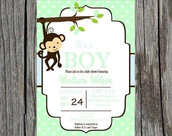 Printed Jungle Baby Shower Invitation, monkey baby shower invitation, monkey, baby boy shower, boy