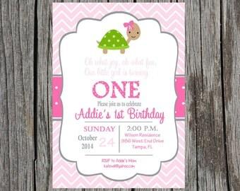 Printed Turtle birthday invitation, turtles birthday party invitation, custom and printable, girl birthday