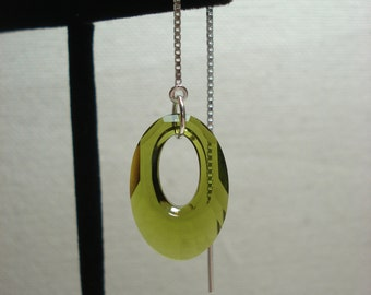 Olive Green Oval Swarovski Crystals on Sterling  Ear Threads-Threader Earrings-Necklace-FREE SHIPPING To U.S.-