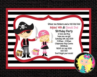 Pirate Birthday Invitation, Pirate Party Invitations, Printable or Printed