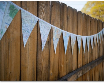 Map Bunting 9 feet - Map paper - Party Supplies - Going away, Wedding, Birthday, Bridal Shower, Baby shower - Ready to ship