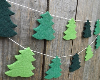 Pine Tree Garland, Christmas Garland, Felt Garland, Christmas Tree Decor, Pine tree Decor, Cabin Decor, Woodland Garland