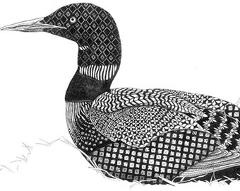 loon print, 8x10 in 11x14 double mat, signed by artist