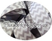 "Grey Chevron Ribbon 5 yards- Your size choice 3/8"", 7/8"", or 1.5""  zig zag printed grosgrain ribbon- hair bow craft ribbon craft trim"