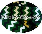 "Team Sports Chevron Ribbon 5 yards- 7/8"" or 1.5"" Forest Green, Black, White Game Day Chevron printed grosgrain ribbon- hair bow craft ribbon"