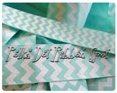 "Aqua Chevron Glitter ribbon 7/8"" or 1.5"" You Choose Width  grosgrain blow craft supply ribbon- US designer trim"