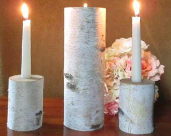 Unity Candle Holder Set Wedding Ceremony Birch Natural Unity Candle, Vintage Wedding, Rustic Unity Candle