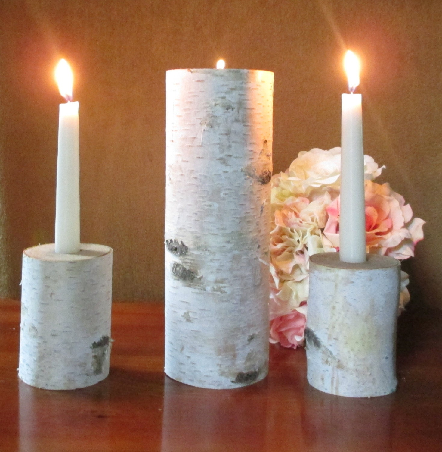 Wedding unity candle birch rustic wedding by birchhousemarket for Rustic house candles