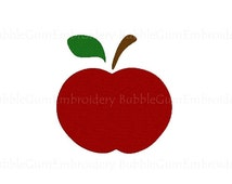 Red Apple Embroidery Design Instant Download