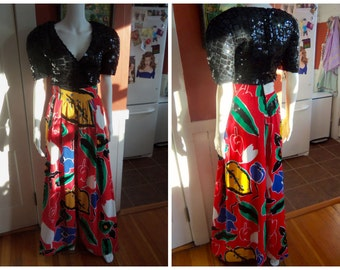 80s ARNOLD SCAASI--Sequins on Floral Palazzo Pantsuit--Like a Matisse--Cotton--Super Bright and Happy Colors--Sheer Sequin Top