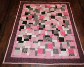 Pink, Black and White Quilt 61x72 inches