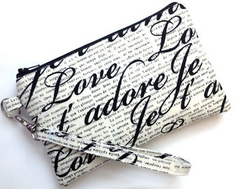 Large Coin Purse/Clutch/Wristlet Pouch/Padded Gadget Case/Smartphone Bag/Zipper Purse - Je T' adore Love FRENCH- Off white black