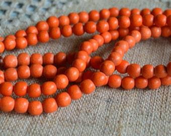 133pcs Wood Natural Beads Orange 6mm Round