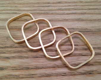 14K Yellow Gold SQUARE Stacker Rings