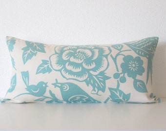 Pillow SALE Thomas Paul Aviary Robin  ivory light blue lumbar pillow cover