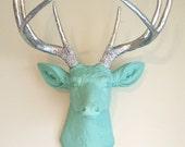 Robins Egg Blue & Silver Deer Head Wall Mount Faux Taxidermy