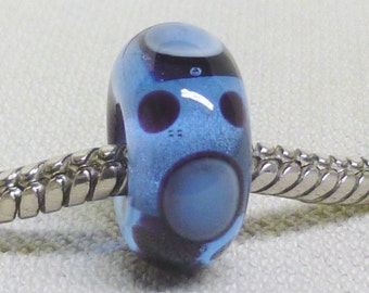 Glass Handmade Lampwork Bead European Large Hole Bead Transparent Blue With Black and Blue Dots