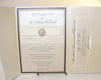 Lace Wedding Invitation, Lace Wedding Invite, Lace Invite, Lace Invitation, Pearl Invitation,  Pearl Wedding Invite, AVA - POCKETFOLD