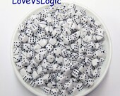 50 Cubic Dice Acrylic Beads. 8mm. White