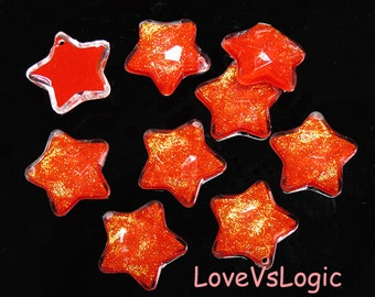 4 Puff Faceted Iridescent Star Acrylic Charms. Iridescent Dark Orange Mix + Clear Tone.