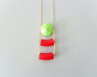 Tribal red corals necklace with green