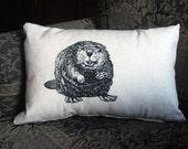Original Beaver Drawing Printed on Rectangular Pillow, Rustic Woodland Cushion, Canadian Pillow