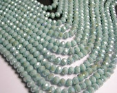 Crystal faceted rondelle - 72 pcs -  8 mm - A quality - full strand - Ab - light blue- GSH24
