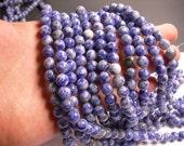 Blue spot Jasper - 8mm - round bead -  47 beads - full strand