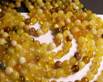 Yellow Opal  8mm ( 7.7mm) round - A quality - 52  beads per strand -  1 full strand