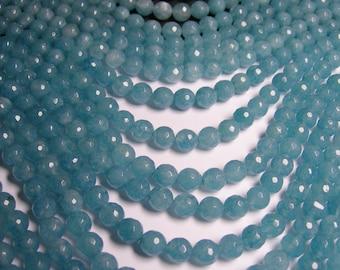 Blue sponge quartz - 8mm faceted beads -1 full strand - 48 beads