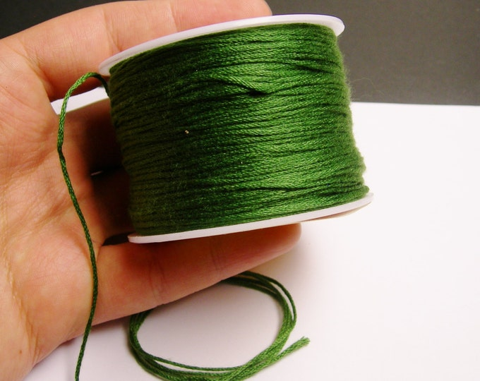 Cotton Cord - knotting - embroidery cord - 1mm - 120 meter - 390 foot - green - CTN8