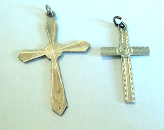 2x Sterling Christian Cross Charms... c.1960s Vintage