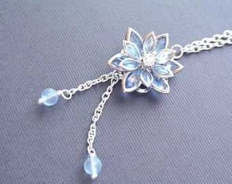 Blue Flower Necklace, Blue Lotus Jewelry, Blue Floral Necklace