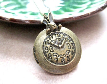 Clock Locket Necklace,Clock Necklace,Steampunk Necklace,Time Necklace,Time Pendant