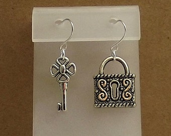 Key Padlock Earrings, Victorian Antiqued Silver, Dangled