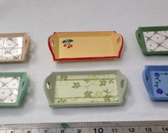DOLLS HOUSE MINIATURES - 1/12th Hand Painted Tray x1. (5 options)