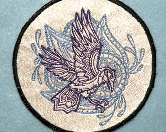 """Cowhide Leather Raven Iron on Patch 4.62"""""""