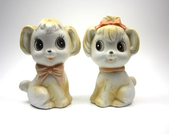 adorable puppy dog couple salt and pepper shakers - 1960s - painted ceramic